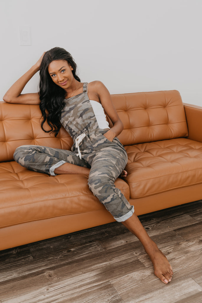 The Camo Drawstring Overalls, Camo knit overalls, comfy, cuffed skinny leg fit, drawstring waist, pockets, soft knit joggers, Wren & Ivory, Wren and Ivory, drawstring, pockets, fall pants, lounge wear, camouflage, green and gray, fashion pants