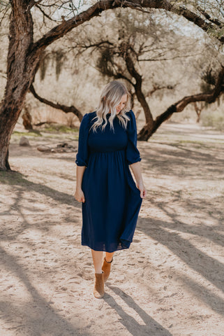 The McLean Scallop Midi in Navy