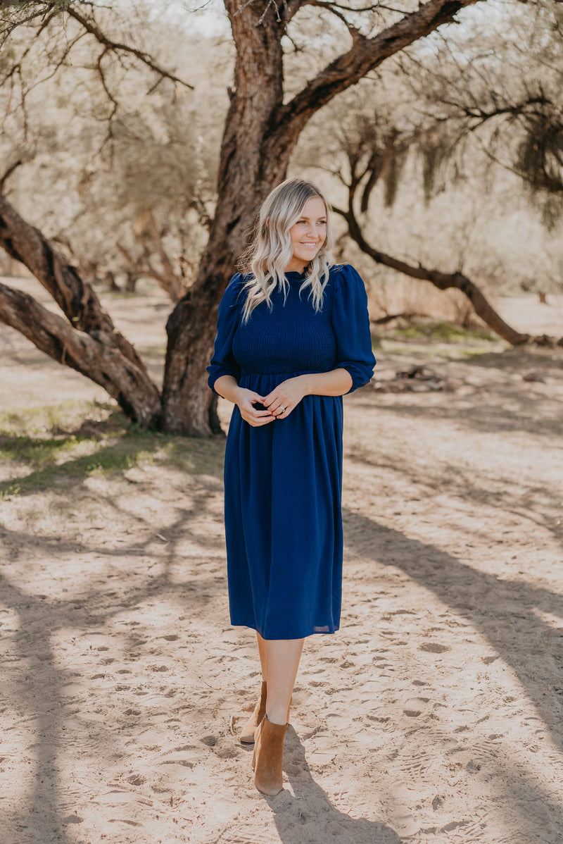 The Providence Smocked Midi in Navy