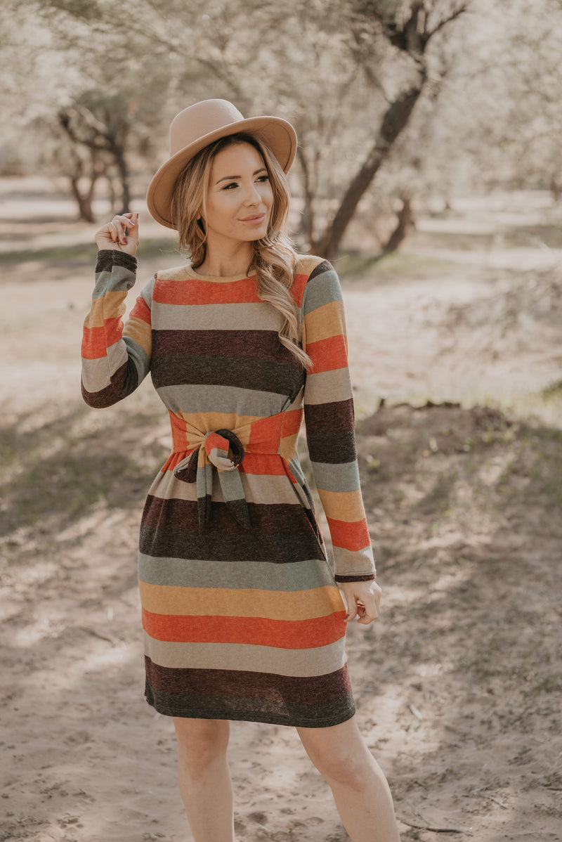 The Nerissa Striped Sweater Dress in Olive Mix