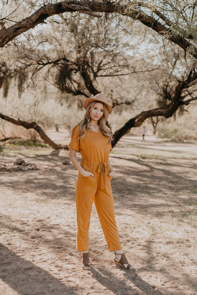 The Dallas Jumpsuit in Mustard