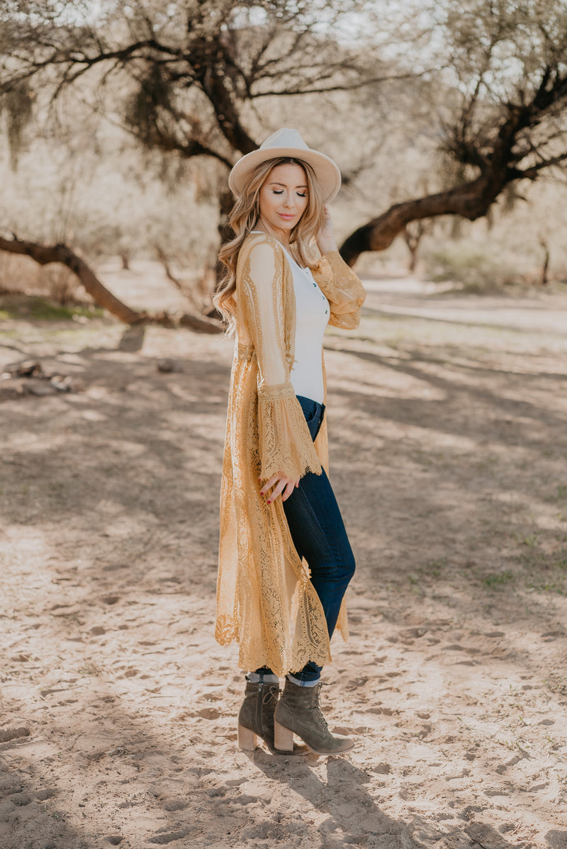 The Durham Lace Duster in Mustard