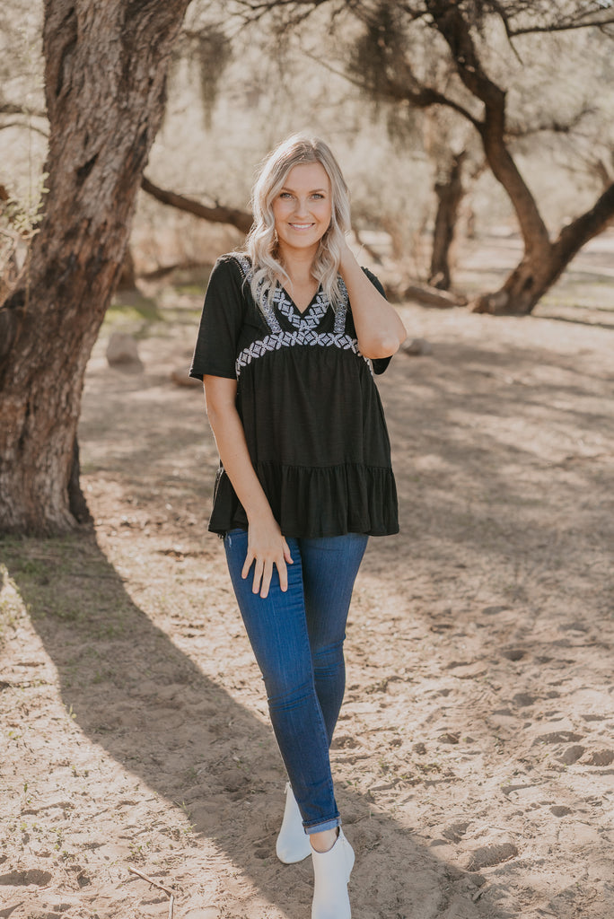 The Abella Embroidered Tunic in Black