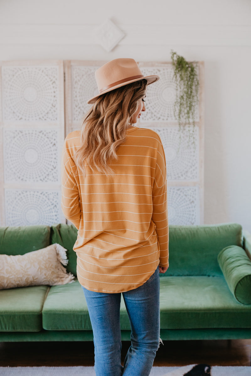 The Kierland Striped Shirt in Mustard (Sizes S-3X)