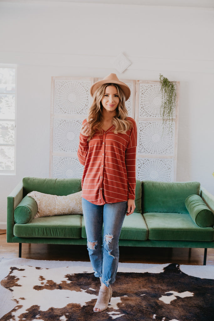 The Kierland Striped Shirt in Pumpkin Spice (Sizes S-3X)