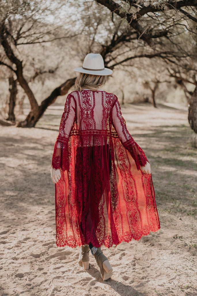 The Durham Lace Duster in Burgundy