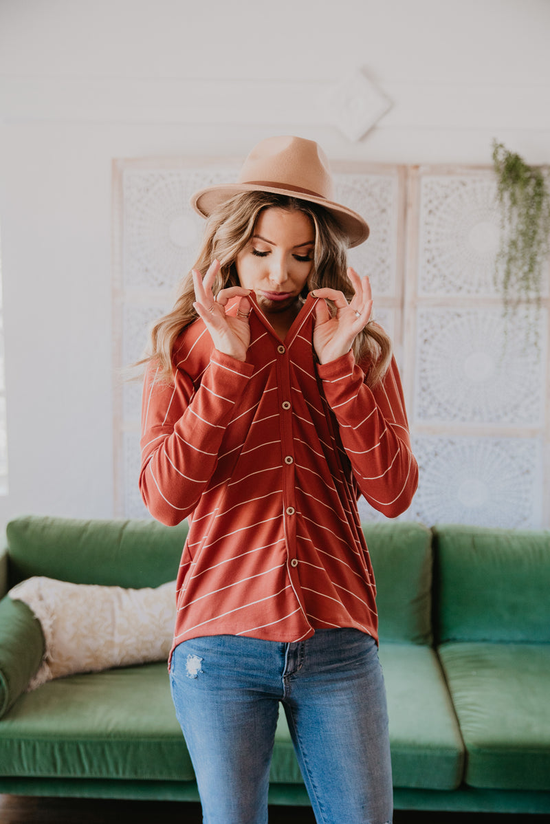 The Kierland Striped Shirt in Pumpkin Spice