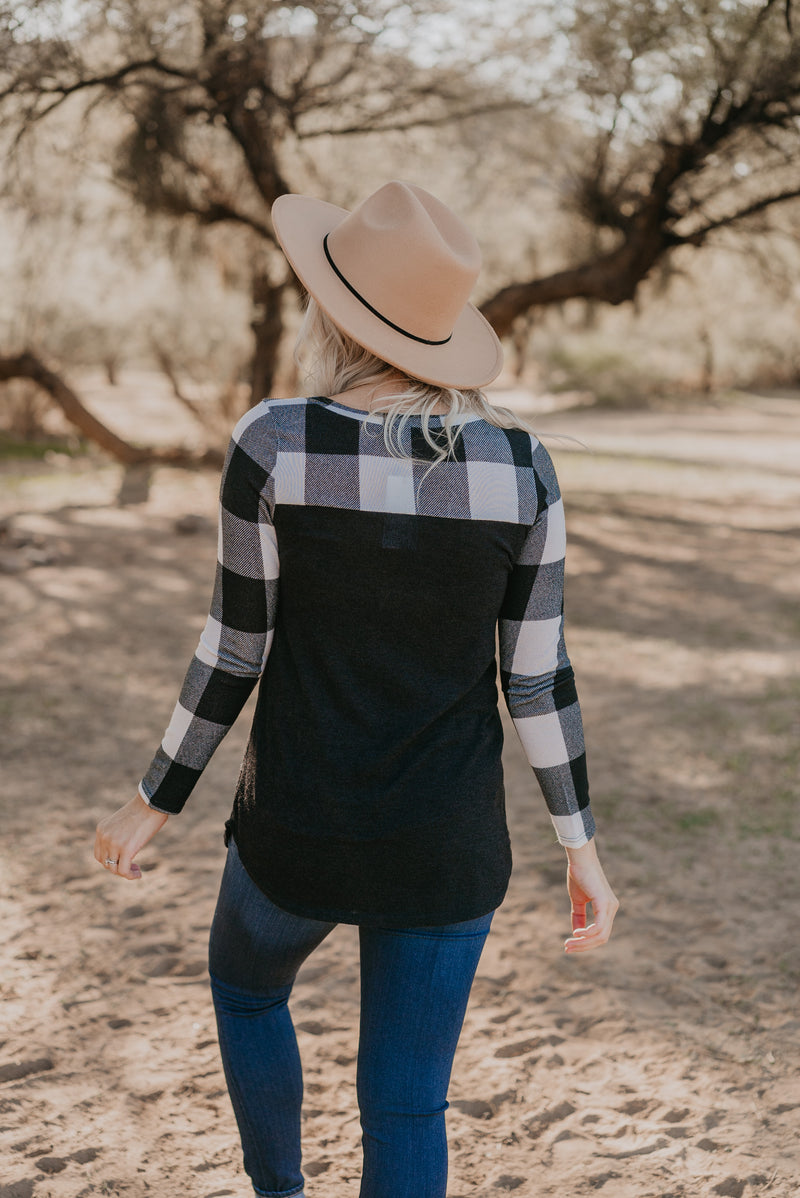 The Harley Buffalo Plaid Top in White