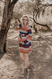 The Nerissa Striped Sweater Dress in Berry Mix