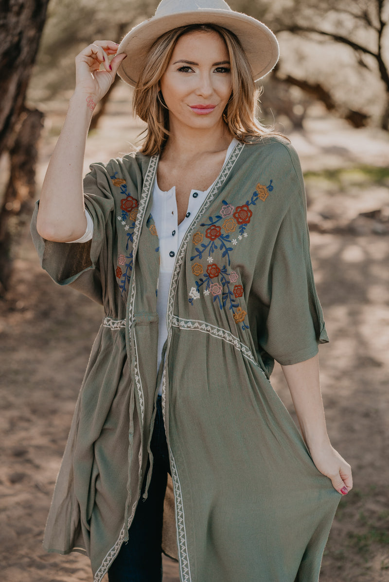 The Valencia Embroidered Kimono in Olive