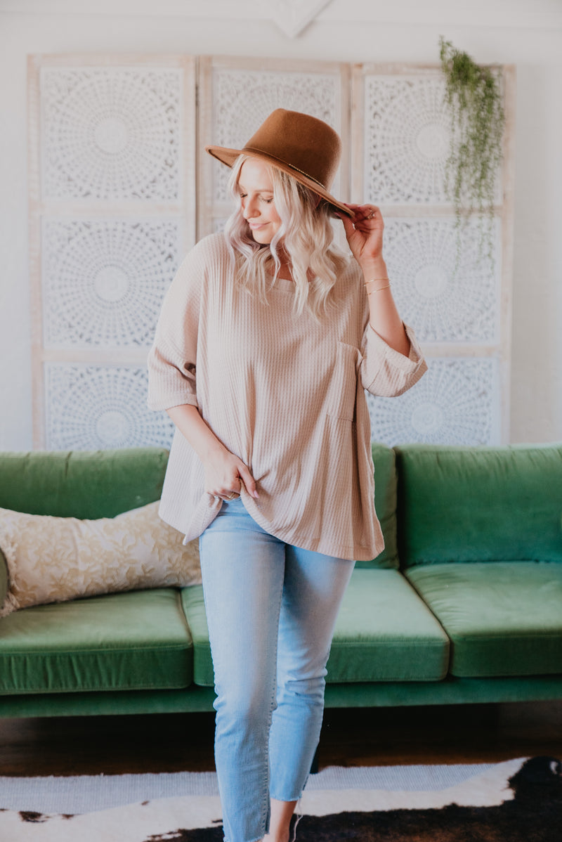 The Bijou Waffle Knit Top in Sand (Sizes S-2X)
