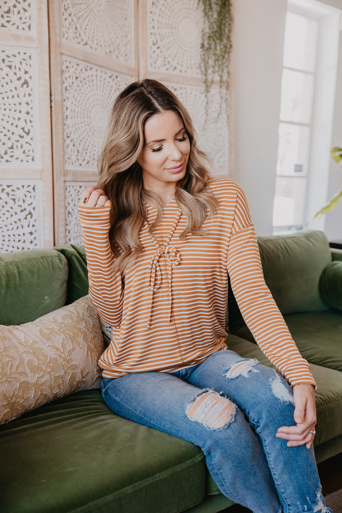 The Carissa Striped Hoodie in Mustard