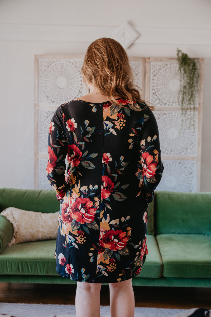 The Aberdeen Floral Dress in Black (Sizes 1X-3X)