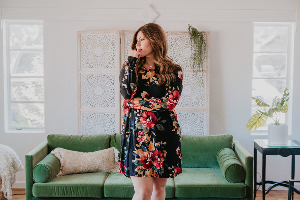 The Aberdeen Floral Dress in Black (Sizes S-XL)