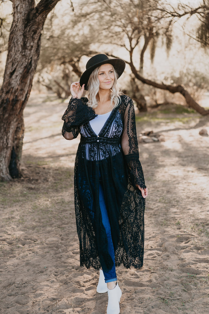 The Durham Lace Duster in Black