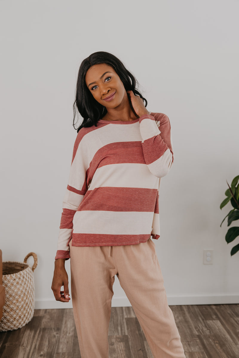 The Freya Solid Sweater in Dusty Rose