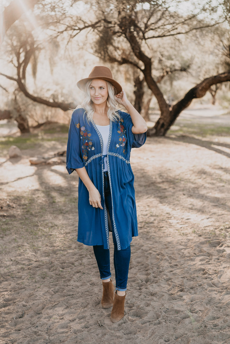 The Valencia Embroidered Kimono in Ocean Blue