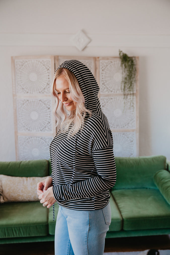 The Carissa Striped Hoodie in Black