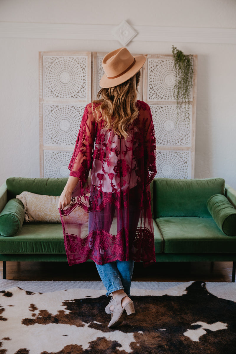 The Lea Lace Duster in Burgundy