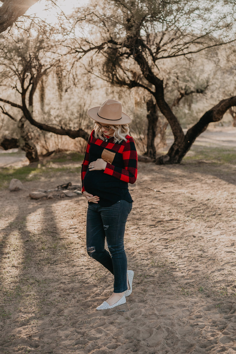 The Harley Buffalo Plaid Top in Red