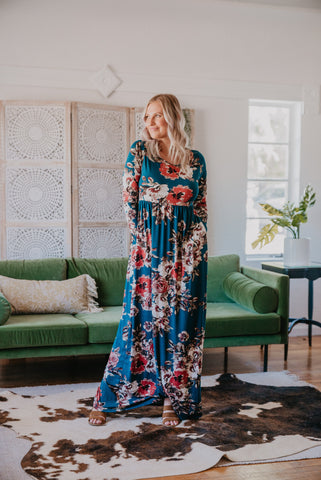 The Fallon Floral Maxi in Dark Teal (Sizes 1X-3X)