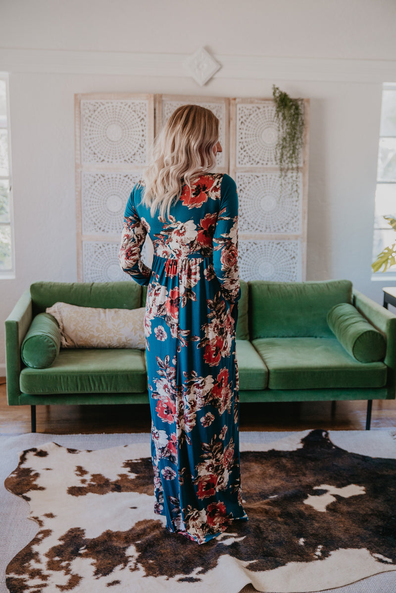 The Fallon Floral Maxi in Dark Teal (Sizes S-XL)
