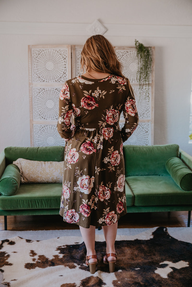 The Warbler Floral Midi in Olive (Sizes S-3X)