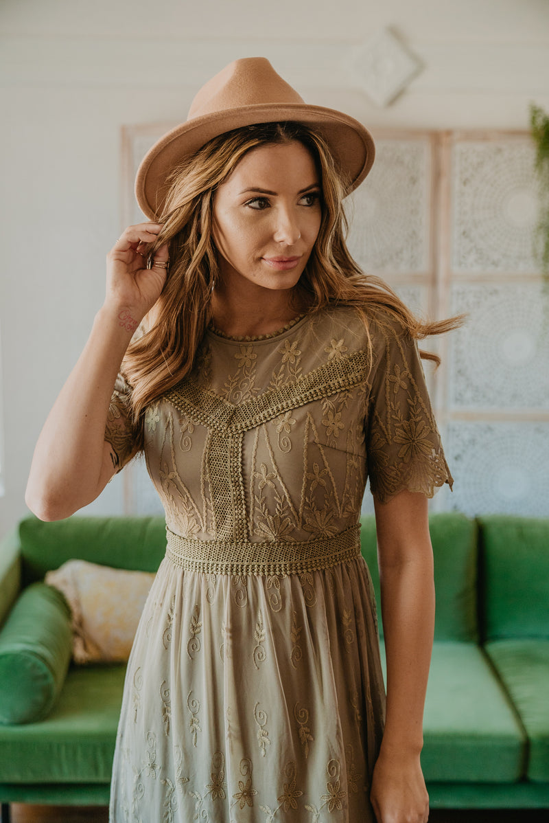 The Christabel Lace Dress in Olive