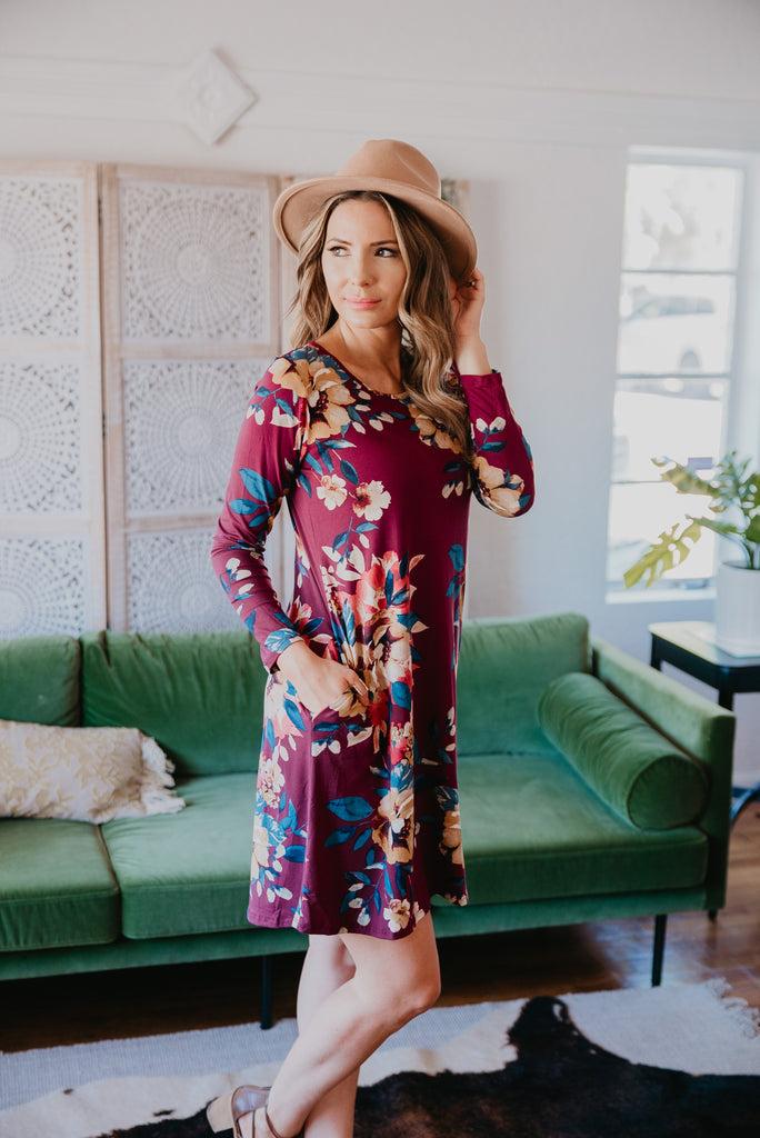 The Aberdeen Floral Dress in Burgundy (Sizes 1X-3X)