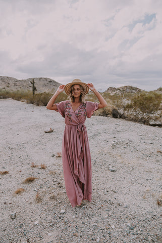 The Reese Floral Button Maxi in Mauve