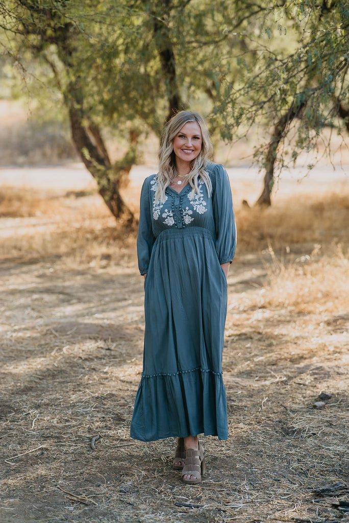 Wren & Ivory, Wren and Ivory, Boutique Clothing, Online Boutique, Instagram Boutique, Influencer Style, Baby Bump Friendly, Maternity, Maternity Clothing, Mom Style, Cool Mom, Pregnancy, Pregnancy Fashion, Pregnant Style, Pregnancy Style, Nursing Friendly, Nursing Buttons, Buttons, Maxi Dress, Maxi, Long Sleeve, Embroidered, Embroidery, Floral Embroidery, Dress, Dresses, Church, Sunday best, Wedding Guest Dresses, Wedding Guest Outfit, Long Dress, New Mom, Parenthood, Parenting