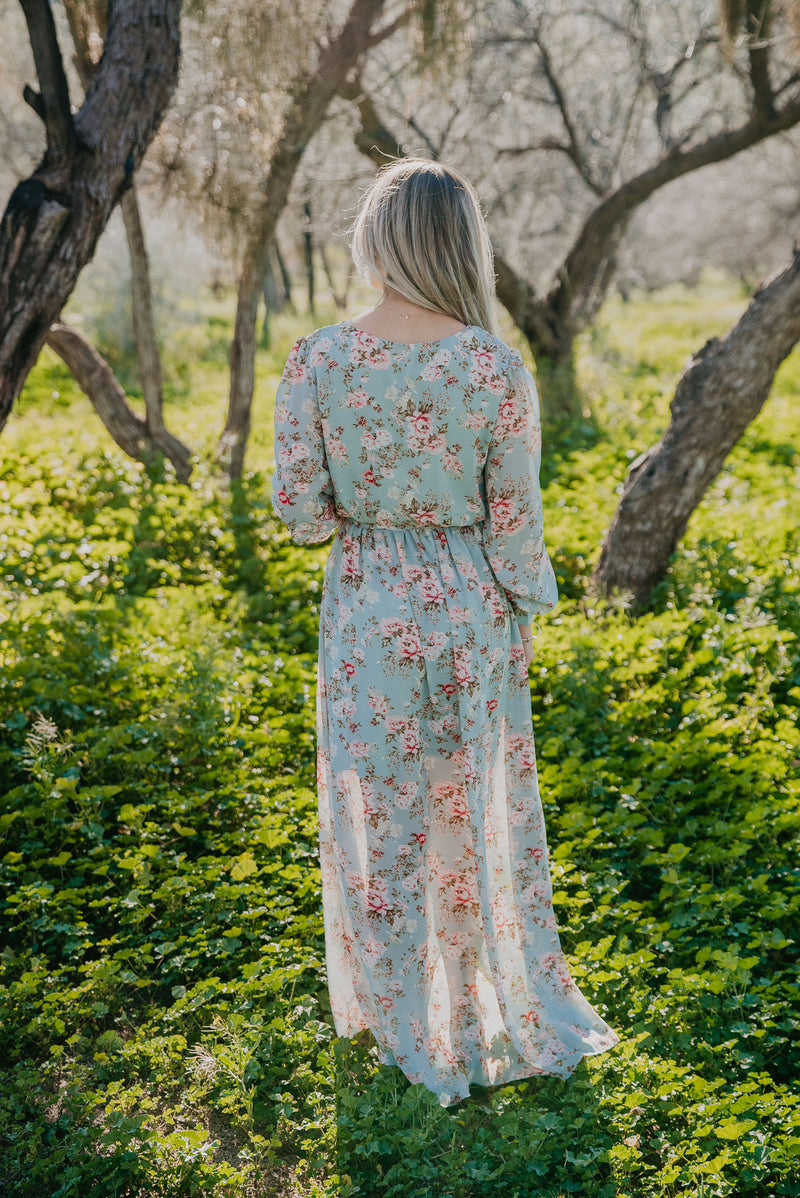 The Kamberlyn Floral Maxi in Blue Sage