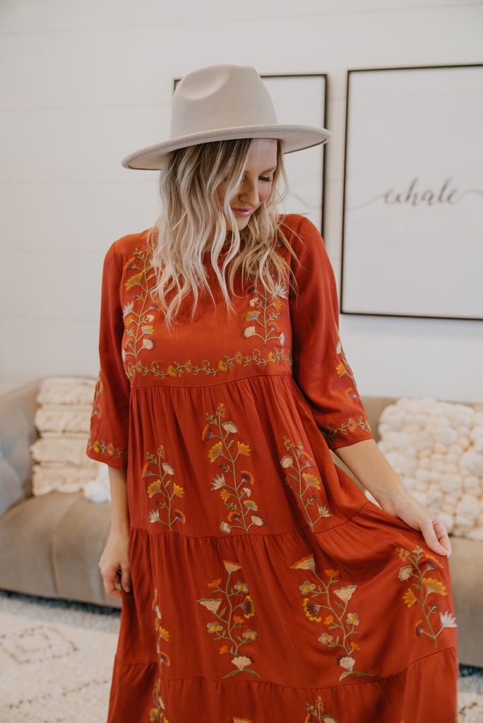 The Beau Embroidered Dress in Rust