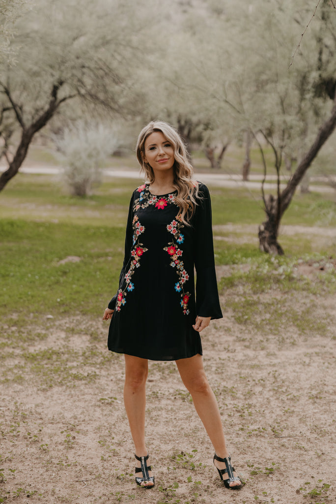 The Wellesley Embroidered Dress in Black