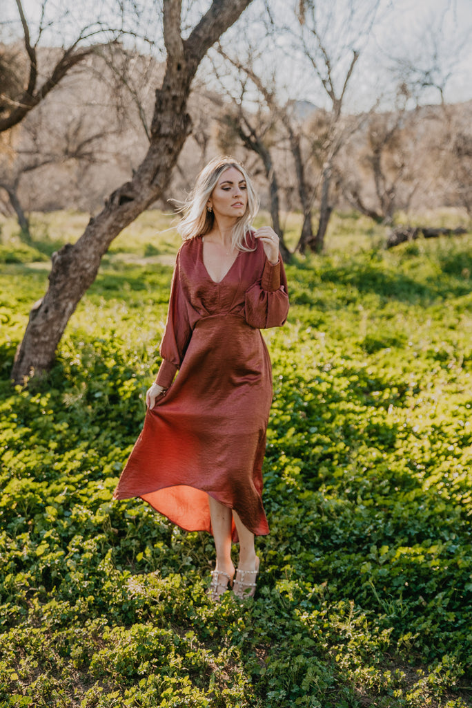 The Allith Dolman Sleeve Maxi in Copper Rose