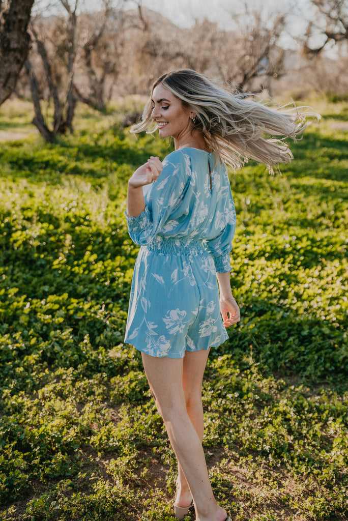 The Marta Floral Romper in Sky