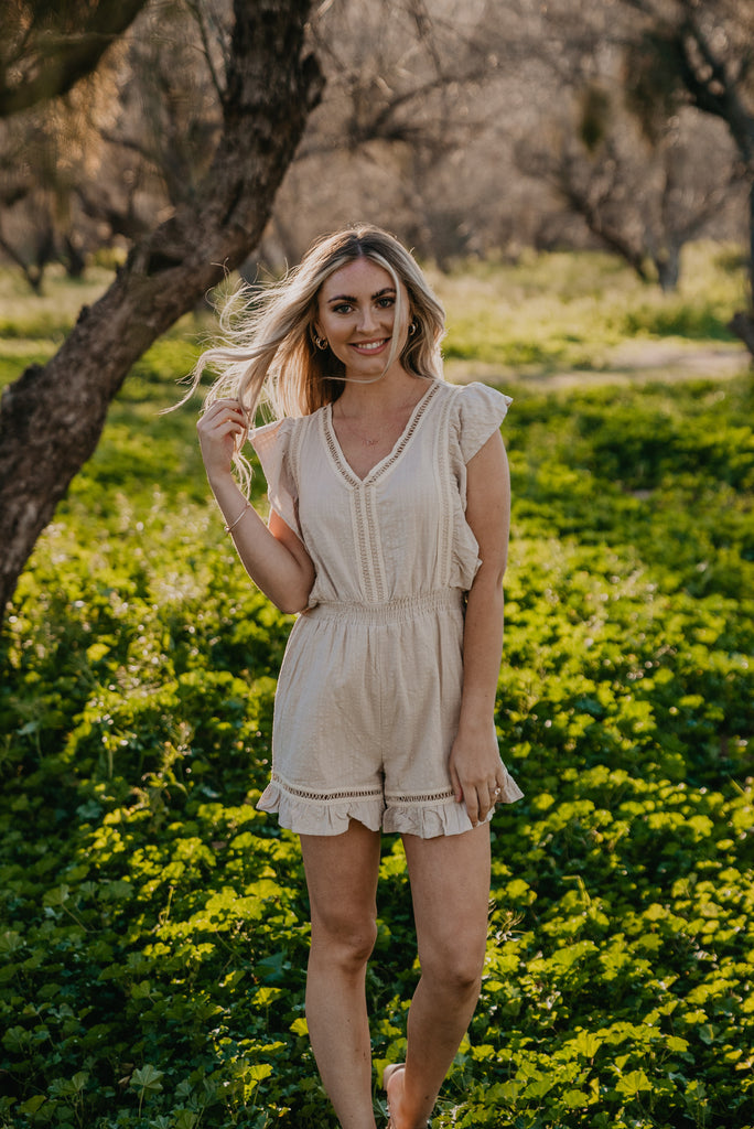 The Keene Crochet Detail Romper in Taupe