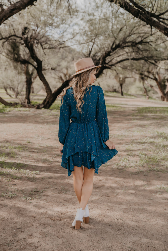 The Brienne Ruffle Dress in Teal