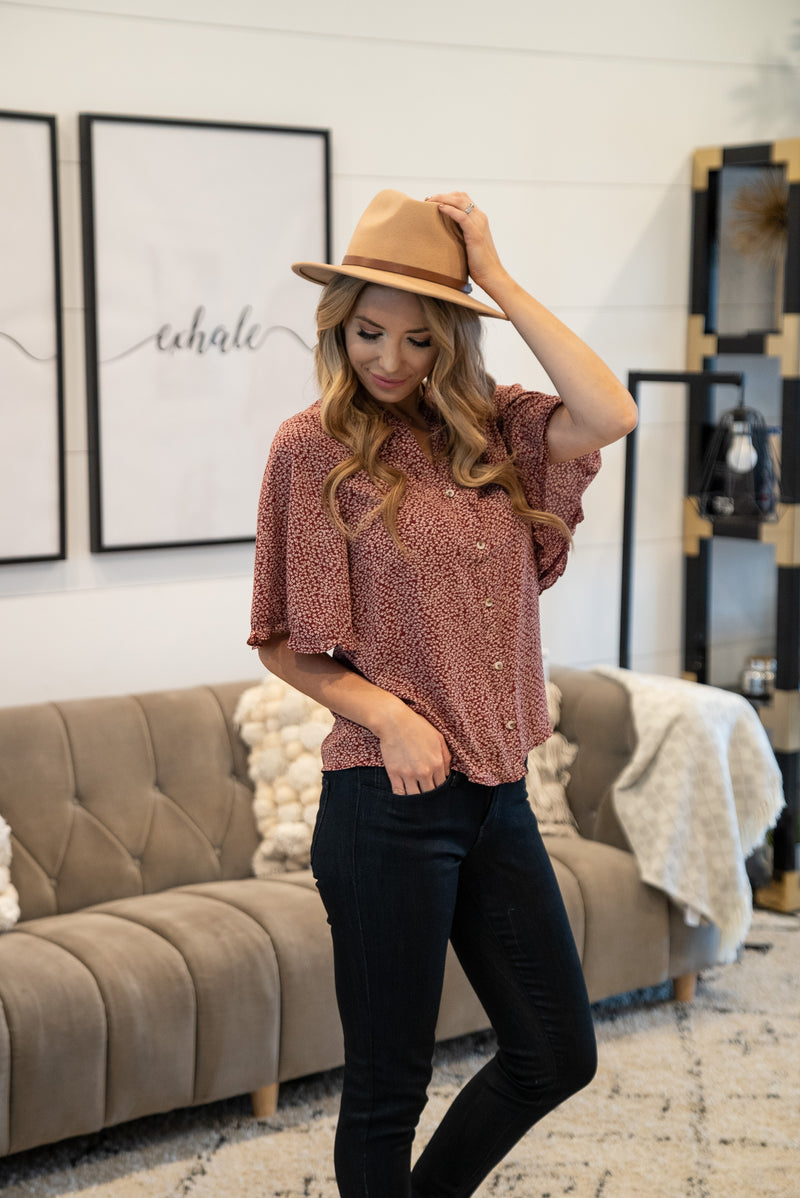 The Lawsyn Floral Button Top in Burgundy