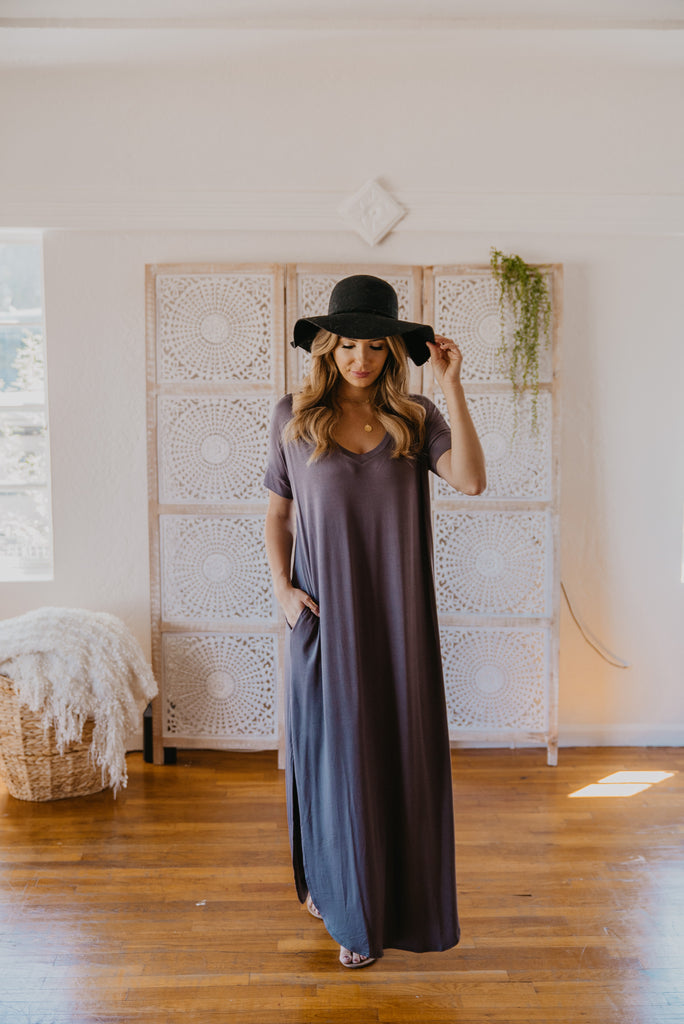 WI Basics: The Tess Solid Maxi in Charcoal (Sizes S-3X)