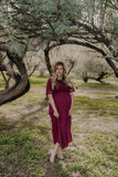 The Annabeth Lace Gown in Burgundy