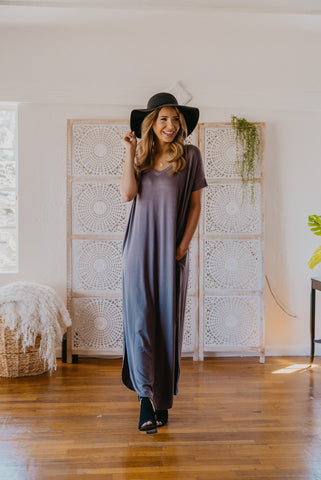 WI Basics: The Vega Solid Maxi in Navy (Sizes 1X-3X)