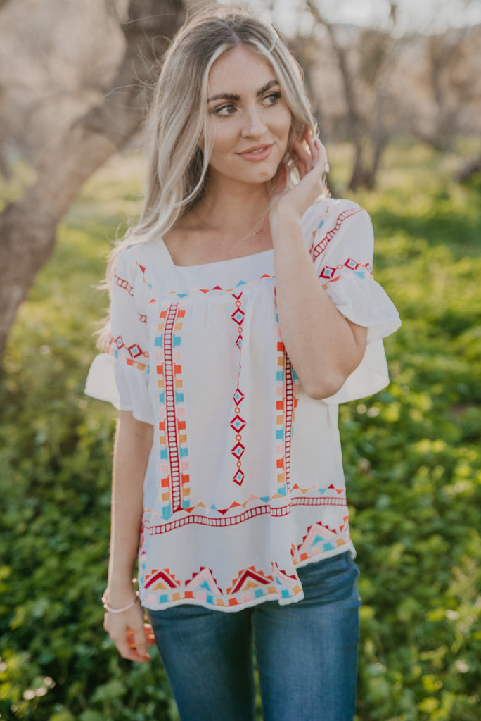 The Xandra Embroidered Ruffle Sleeve Top (Sizes S-3X)