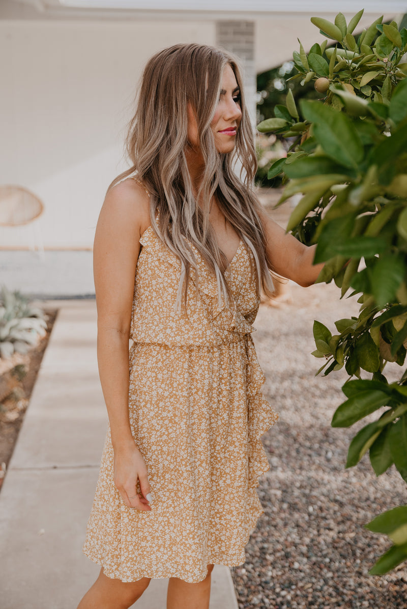The Koa Floral Dress in Mustard