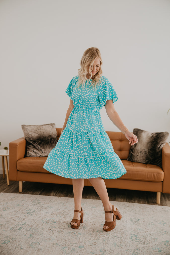 The Nelson Tiered Midi in Aqua, light and feminine, aqua with white dot print, elastic waist, flutter sleeves, A-line dress, modest, mommy fashion, Baby Bump Friendly, Wren & Ivory, Wren and Ivory