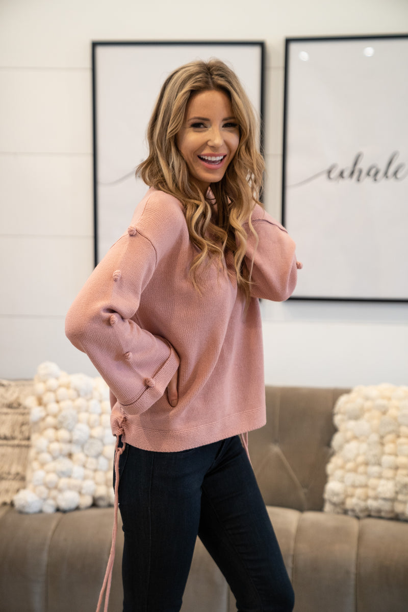 The Finley Pom Sweater in Mauve
