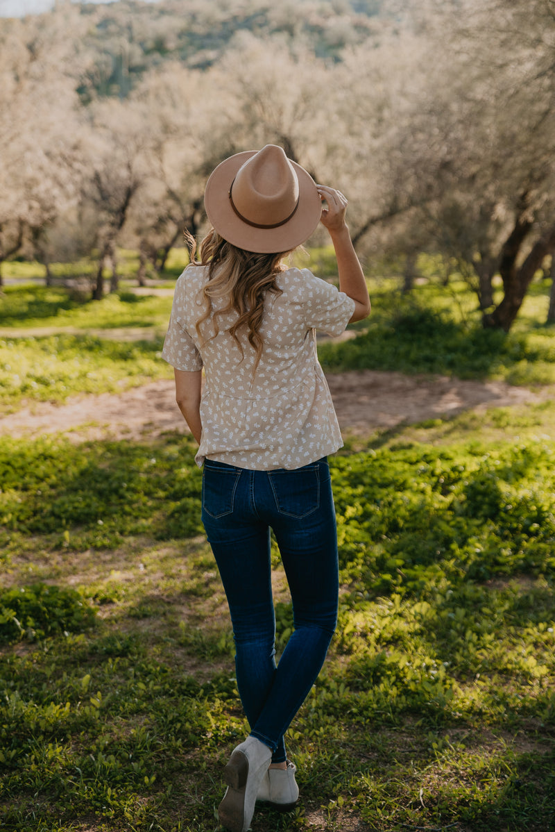The Shelby Floral Button Top in Natural
