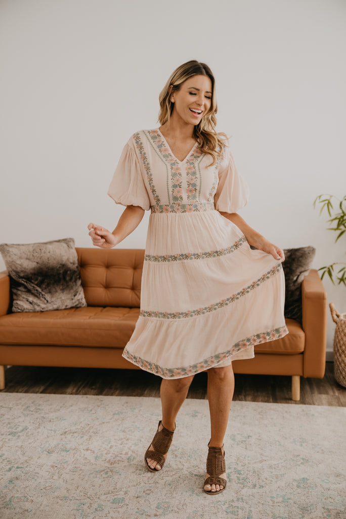 The Renae Ethereal Midi in Blush, midi dress, tiered dress, Baby Bump Friendly, lined, short puffed sleeves, fashion, Wren & Ivory, Wren and Ivory, all season dress, blush pink dress, embroidered flowers, tie waist