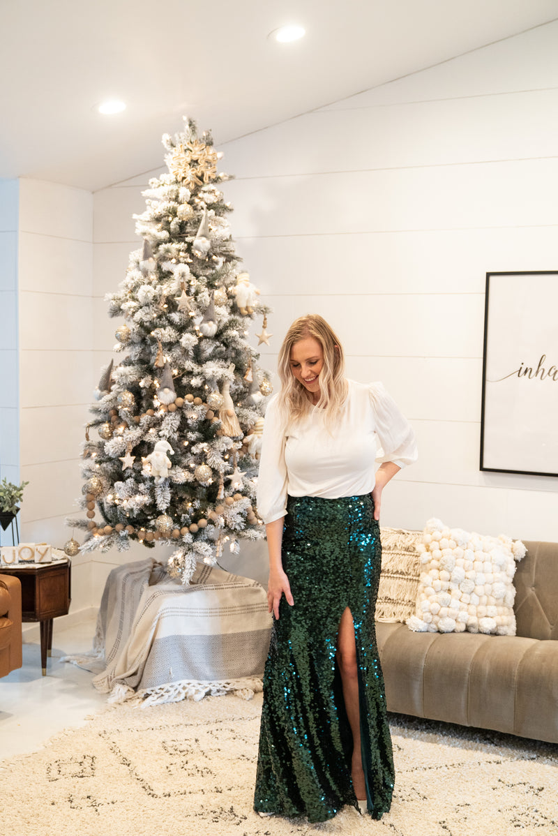 The Belle Sequin Skirt in Hunter Green