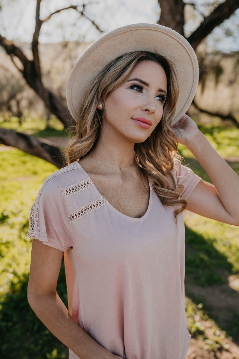 The Arden Crochet Shirt in Blush